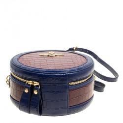 Vivienne Westwood Red/Blue Croc Embossed Leather Round Crossbody Bag
