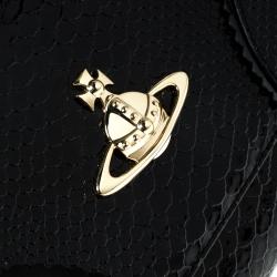 Vivienne Westwood Black Snakeskin Embossed Leather Frilly Shoulder Bag