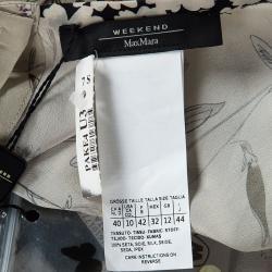 Weekend Max Mara Beige Floral Printed Silk Pleat Detail Botanical Blouse M