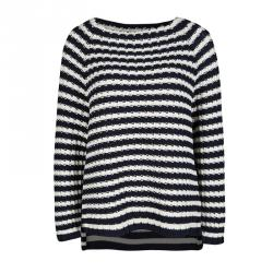 Weekend Max Mara Navy Blue and White Striped Chunky Knit Sweater M