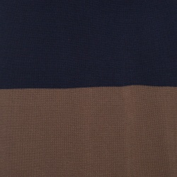 Weekend Max Mara Navy Blue and Brown Striped Short Sleeve Sweater Dress L