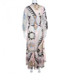 Weekend Max Mara Multicolor Geometric Print Tasseled Tie Detail Dress M