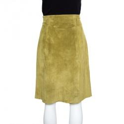 Weekend Max Mara Green Suede Slit Detail Skirt S