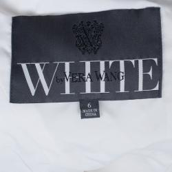 White by Vera Wang One Shoulder Organza Bias Flange Detail Wedding Dress M