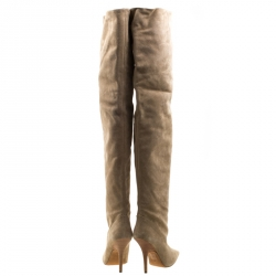 Yeezy Season 5 Beige Suede Thigh High Pointed Toe Boots Size 38