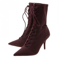 Yeezy Season 5 Burgundy Stretch Canvas Lace Up Pointed Toe Boots Size 38.5