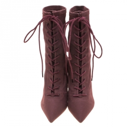 Yeezy Season 5 Burgundy Canvas Lace Up Pointed Toe Ankle Boots Size 36.5