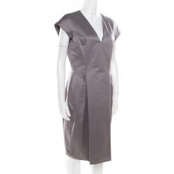 b60c11e17a8 Yves Saint Laurent Paris Grey Plunge Neck Cap Sleeve Dress L