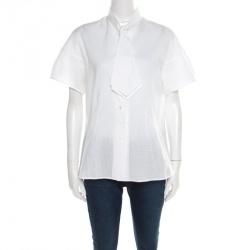 de90908e948 Yves Saint Laurent Off White Checkered Cotton Dobby Neck Tie Detail Shirt L