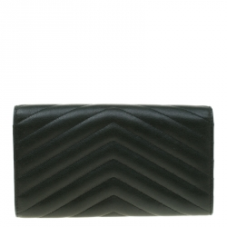 Saint Laurent Green Matelasse Leather Flap Wallet