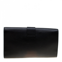 Saint Laurent Paris Black Leather Large Chyc Clutch