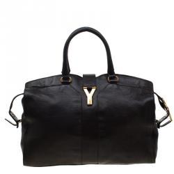 Saint Laurent Paris Black Leather Large Cabas Chyc Satchel