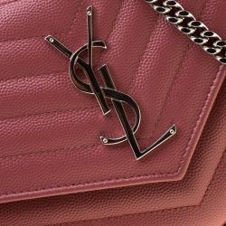 Saint Laurent Paris Indian Red Matelasse Leather Monogram Chain Clutch