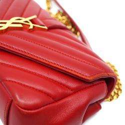 Yves Saint Laurent Red Leather Matelasse Monogram Classic Baby Bag