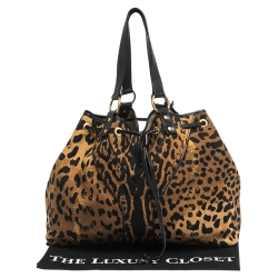 Saint Laurent Paris Brown/Black Leopard Print Canvas and Leather Drawstring Tote