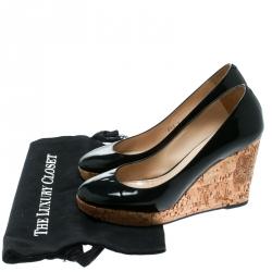 Saint Laurent Paris Black Patent Leather Cork Wedge Platform Pumps Size 38