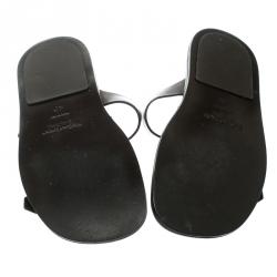 Saint Laurent Paris Brown Leather Buckle Detail Slides Size 40