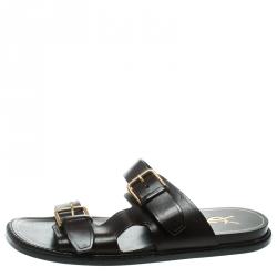 91300df55586 Buy Valentino Black Leather Two Band Rockstud Slide Sandals Size 35 ...