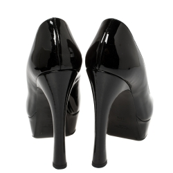 Yves Saint Laurent Black Patent Leather Palais Peep Toe Platform Pumps Size 38.5