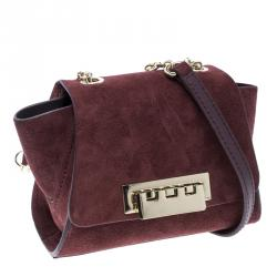 Zac Posen Burgundy Suede Z Spoke Shoulder Bag