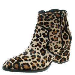 513d37e7e Zadig and Voltaire Brown Leopard Print Calf Hair Molly Leo Cowboy Boots Size  39