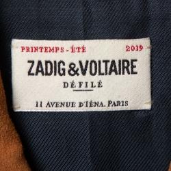 Zadig & Voltaire Brown Suede Distressed Trim Detail Zip Front Leonna Jacket M