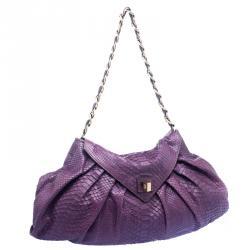 Zagliani Purple Python Envelope Chain Hobo