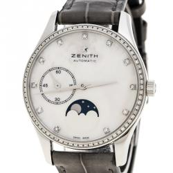 Zenith White Mother of Pearl Stainless Steel Elite Ultra Thin Women's Wristwatch 33 mm