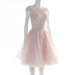 Zuhair Murad Couture Pink Embellished Tulle Sleeveless Cocktail Dress S