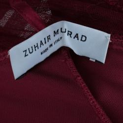 Zuhair Murad Red Silk Halterneck Evening Gown M
