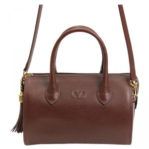Valentino Burgundy Saffiano Leather Top Handle Crossbody