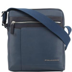 Piquadro Navy Blue Leather Messenger Bag