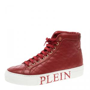 Philipp Plein Red Quilted Leather High Top Sneakers Size 38