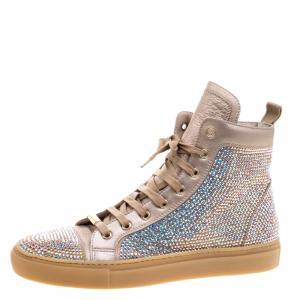 Le Silla Metallic Beige Crystal Embellished Leather High Top Sneakers Size 37