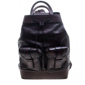 Berluti Dark Burgundy Leather Horizon Backpack