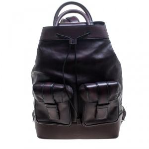 Berluti Dark Burgundy Leather Horizon Backpack