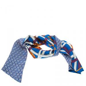 Hermes Blue Printed Silk Caval Cadour a Cheval Scarf