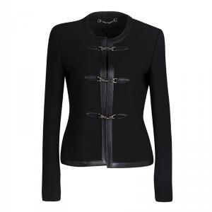 Gucci Black Leather Trim Piston Clasp Detail Jacket S