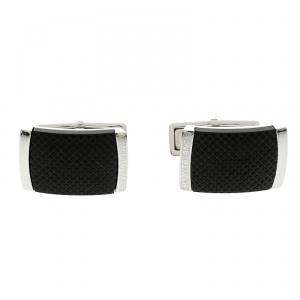 Montblanc Anwalker Extreme Black Textured Inlay Steel Cufflinks