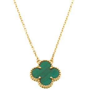 Van Cleef & Arpels Vintage Alhambra Malachite Yellow Gold Pendant Necklace