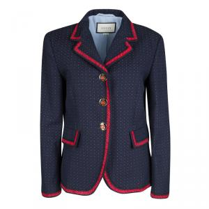 Gucci Navy Blue Dotted Contrast Trim Detail Blazer M