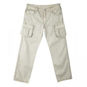 Armani Junior Beige Cold Pigment Overdyed Cotton Cargo Pants 8Yrs -