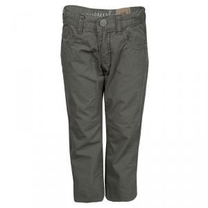 Armani Junior Dark Grey Cotton Poplin Regular Fit Pants 3 Yrs