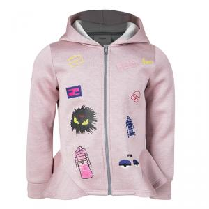 Fendi Pink Embroidered Ruffle Detail Hooded Zip Front Jacket 4 Yrs