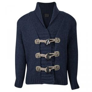 Fendi Blue Wool Toggle Button Detail Long Sleeve Cardigan 4 Yrs