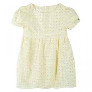 Gucci Kids Yellow Cutout Lace Trim Detail Cotton Sangallo Dress 6-9 M