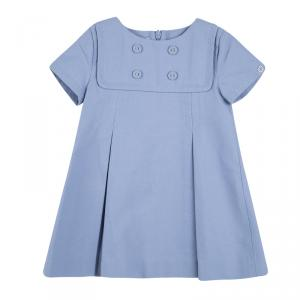 فستان غوتشي كيدز صيف ربيع '15 قطن أزرق فاتح بأزرار أمامية وطيات 6-9 أشهر