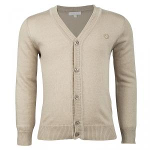 Gucci Beige Cashmere Blend Knit Long Sleeve Button Front Cardigan 4 Yrs