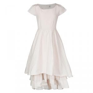 Junior Gaultier Couture Blush Pink Lurex Dot Tiered Cap Sleeve Dress 14 Yrs