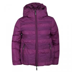 Moncler Purple Hooded Zip Front Nylon Down Jacket 8 Yrs